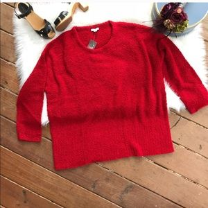 J. Jill Pure Jill Red Fuzzy Crewneck Sweater XL